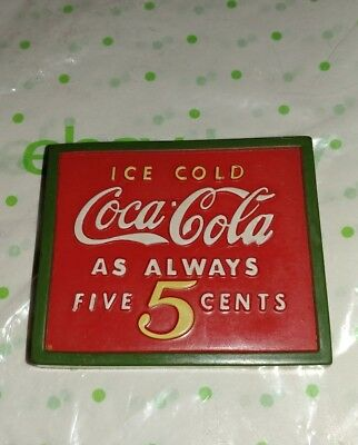 "COCA-COLA Coke Magnet 3"" Rubber,  Ice Cold as Always 5 cents,  Vintage 1998"