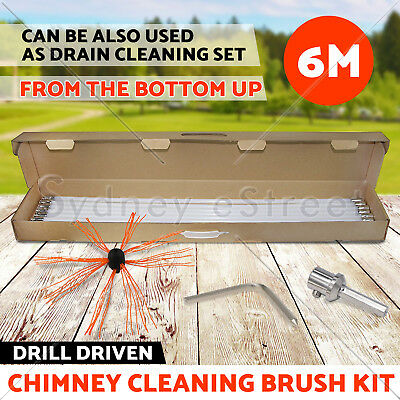 Drill Powered Chimney Cleaning Kit Flue Brush Cleaner Fireplace Sweep Rotary OZ