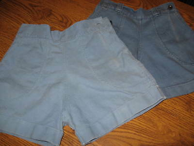 TWO PAIR VINTAGE GIRL'S Blue SHORTS 1950's Cuffs