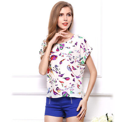 Summer Women Shirts Chiffon Printed Blouse Short Sleeve Girl Loose Casual Tops