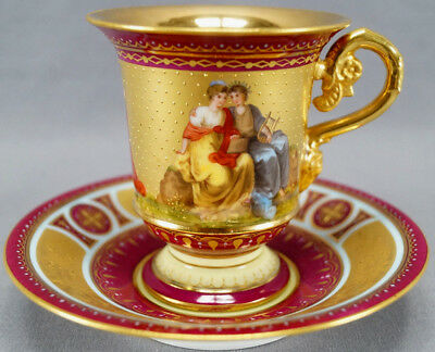 Royal Vienna Style Dresden Hand Painted Maroon & Gilt Greek Scene Cup & Saucer A