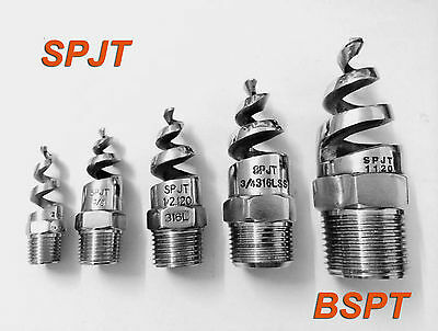 """50 pcs New SPJT 316L Stainless Steel Spiral Cone Spray Nozzle 3/8 """" BSPT"""