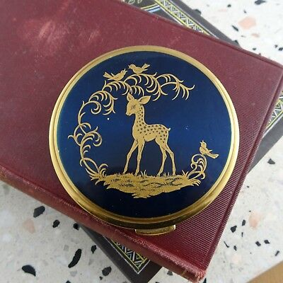 Vintage Blue & Gold Powder Compact Mirror with Deer Design Made in England
