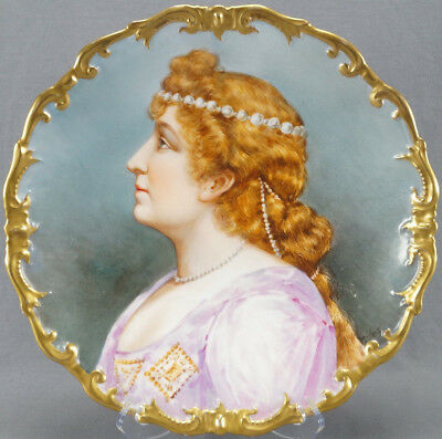 Large B & H Limoges Hand Painted Signed Dubois Portrait Charger Circa 1890s