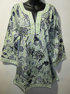 Top 2X Plus Long Tunic Blue Green Lobster Sea Horse Octopus Fish Cotton NWT 4022