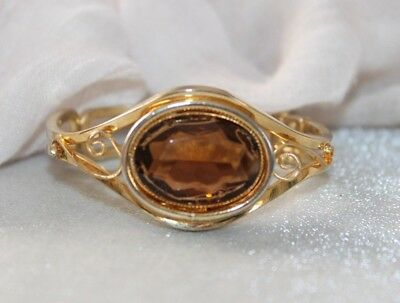 VINTAGE Heavy GOLD plated SMOKEY TOPAZ Paste hinged clamper cuff bracelet 8 in