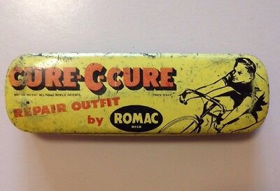 Romac Cycle Tyre Puncture Repair Outfit Tin Bicycle. CURE-C-CURE. With Contents.