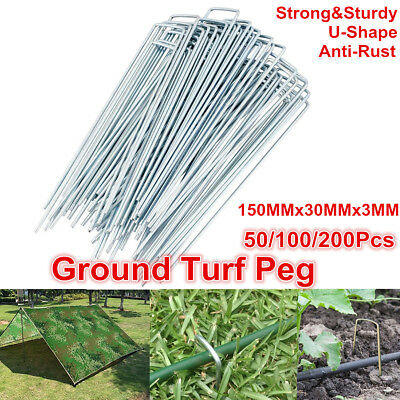 100/200 X Anchor U Pins Tent Pegs Galvanised Weed Mat Turf Pins Lawn Weed Mat