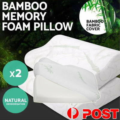 AU SHIP 2x Luxury Bamboo Pillow Anti Bacterial Memory Foam Fabric Cover 50X30CM