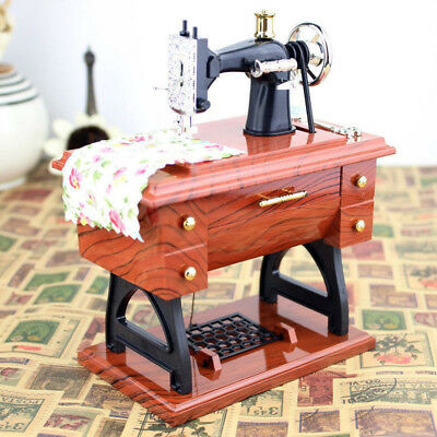 Mini Vintage Music Box Sewing Machine Style Mechanical Birthday Gift Decor Toy
