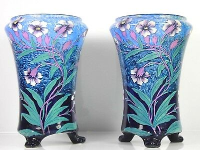 RARE PAIR OF MALING POTTERY FLORIAN PATTERN 3763 VASES c1929