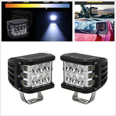 One Pair 4'' Dual Color LED 9000LM Car Work Light Combo Beam Lamp 45W Waterproof