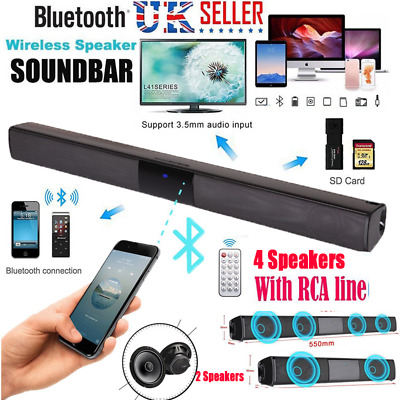 Soundbar TV Speaker Bluetooth Wireless Home Theater Sound Bar HiFi Subwoofer UK