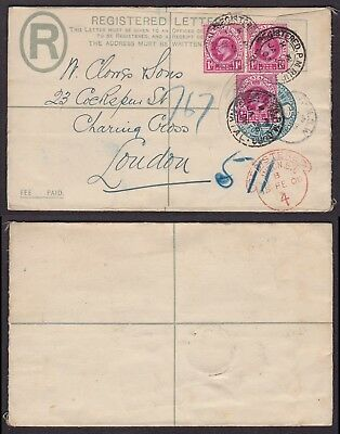 Natal 1908 - Registered stationery to London England 28893