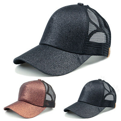Women Fashion Ponytail Baseball Cap Sequins Shiny Messy Bun Snapback Hat Sun Cap