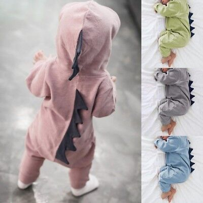 Newborn Dinosaur Hooded Clothes Baby Boy Girl Romper Bodysuit Jumpsuit Outfit