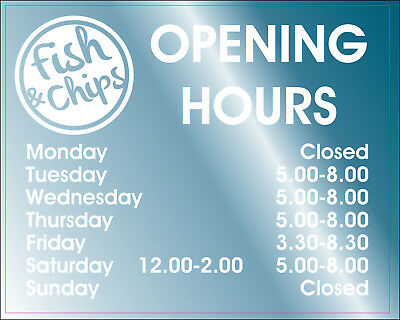 FISH & CHIP SHOP CAFE OPENING HOURS CAFE DECAL PERSONALISED SIGN 20x15cm