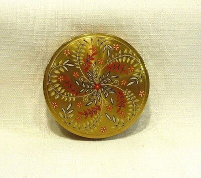 Vintage Mimosa Flower Leaf Design Gold Tone Round Mirror Powder Compact