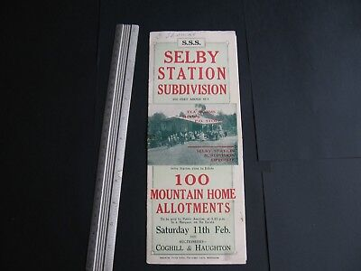 Selby Station Subdivision Land Sale 1922 .Coghill & Haughton