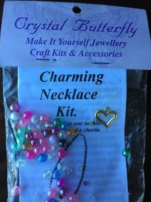 Crystal Butterfly - Charming Necklace Kit - Heart Charm (kids)