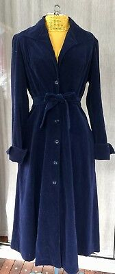 CUE Vintage Royal Navy Blue Cotton Velvet Trench Coat Dress Sz 12 Stunning