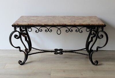 Art Deco French Wrought Iron and Marble Outdoor Indoor Coffee Table