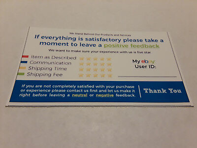 ebay Seller 100 THANK YOU Business Cards 5 Five Star Feedback