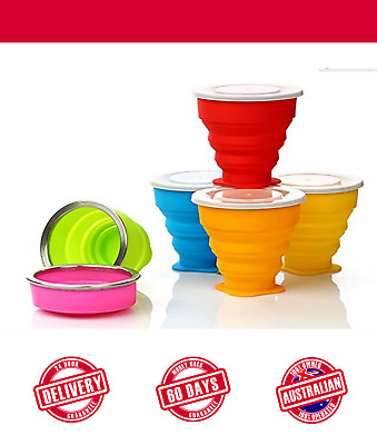 Silicone Collapsible Cup with Lid Travel Camping Compact Reusable Dish wash Safe