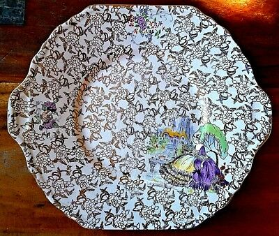 Vintage Lord Nelson Ware Handled Cake Plate Pompadour Gilt Lavender Lady Chintz