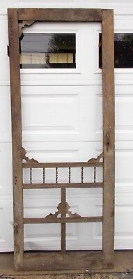"Vintage Wood Screen Door Antique Salvaged Farmhouse Victorian  32"" x 80 5/8"""