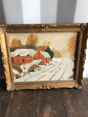 Vintage Original Oil On Board Painting, SAM, Snow Scene Rural Countryside ❤️,