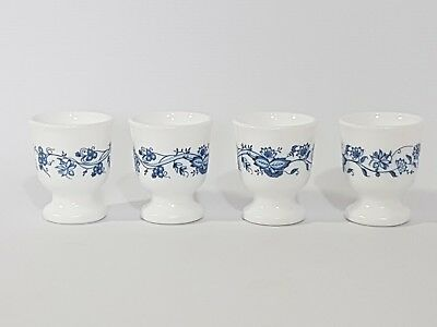 4 X Vintage Arcopal Pyrex Egg Cups Blue & White Floral French
