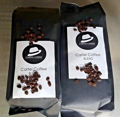 2 x 1KG Freshly Roasted Cartel Coffee Signature Blend - Organic, FairTrade, RFA