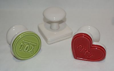 Hallmark Yummy Cookie Press Set 3 Ceramic Stamps Peace Joy Love