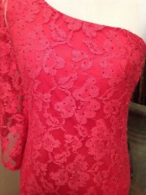As You Wish Dress Women's Small NWT Coral One Shoulder Lace Glittery Overlay