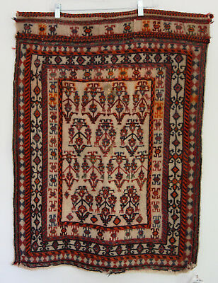 Antique Soumak Turkish Rug Wall Hanging Handmade Woven Tribal Old Vintage