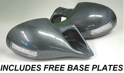 FORD FOCUS BLACK M3 ELECTRIC DOOR WING MIRRORS /& LED INDICATORS INC BASE PLATES