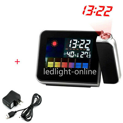 Digital Weather LCD Projection Snooze Alarm Clock Color Display LED Backlight