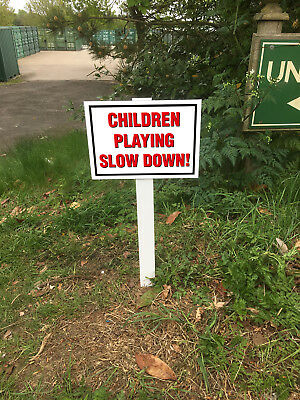 Children Playing Slow Down! Ex Large x 2 Sign Mounted Onto 3mm Board With Stake