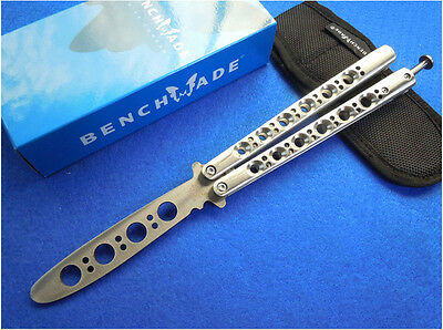 Butterfly BALISONG BM40 BM 40 Practice Training Knife Trainer w/Sheath Silver