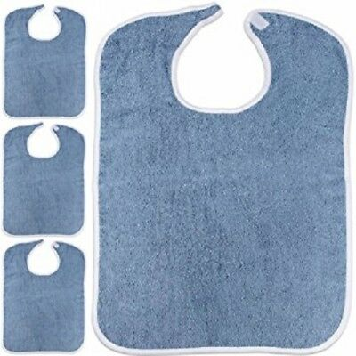 3 new adult terry cloth bib w/ easy fast closures blue jumbo 18x30 100% cotton