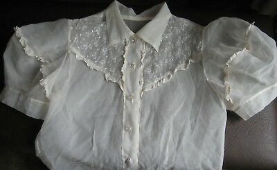 VINTAGE GIRL'S 1950's Lacey Puffed Sleeved Blouse