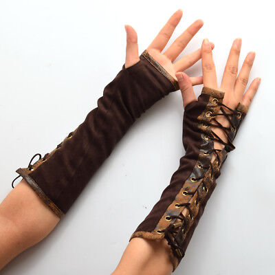 Vintage Medieval Renaissance Lace Up Velvet Glove Fancy Dress Opera Wristbands