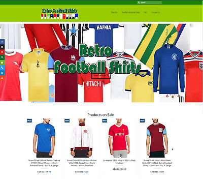 Automated RETRO FOOTBALL SHIRTS business FREE Domain/Hosting Up to £49 a sale!
