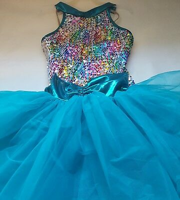 DANSCO girls teal green sequined 2 piece dance costume size extra Large