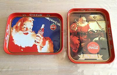 N.2 Vassoi Coca Cola In Latta Merry Christmas Vintage