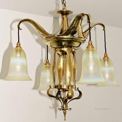 Brass/Vaseline Glass Art Nouveau/Arts and Crafts Ceiling Light/Chandelier c.1905