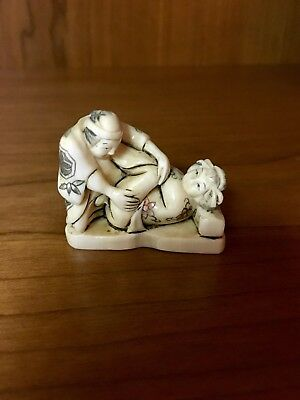 Antique Asian Japanese Netsuke Figurines of Erotic Couple.
