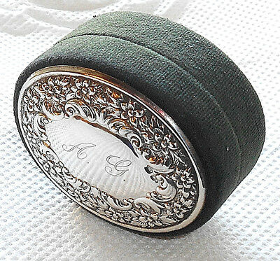 ANTIQUE SILVER & GREEN VELVET CUFFLINK TRINKET BOX c.1920 (NO H.M.)