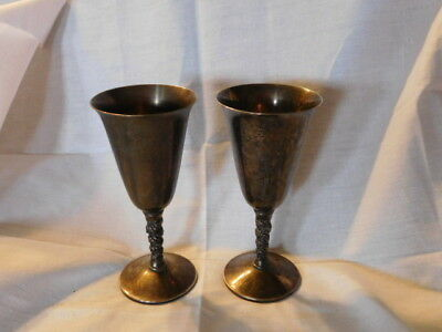 """2 Bridalane WINE GOBLETS Grapevine Stem Silver Plated 7"""" Made in Spain.."""